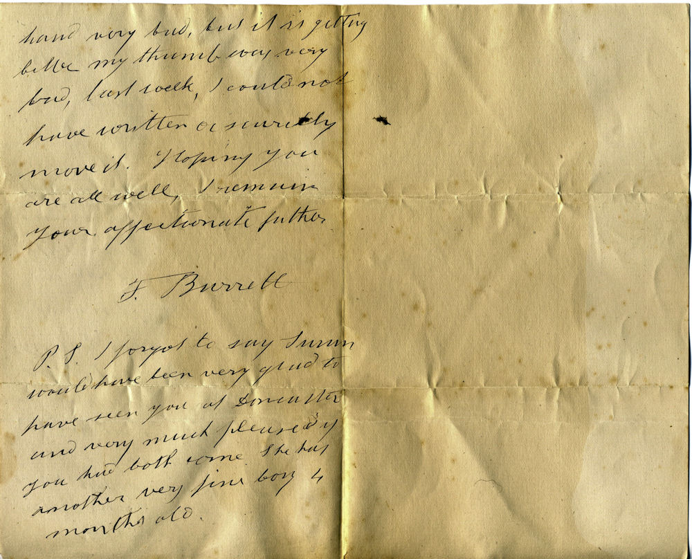 1885 Letter by Frederick aged 75
