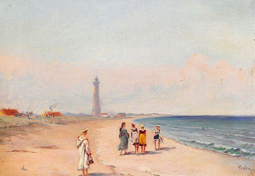 Image : Skagen Beach and the Grey Lighthouse